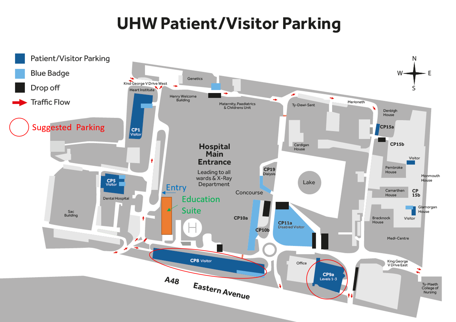 UHW Car Parking and Ed Suite Directions